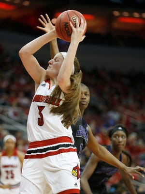 Louisville's Sam Fuehring drives to the basket against University of Central Arkansas. March 18, 2016