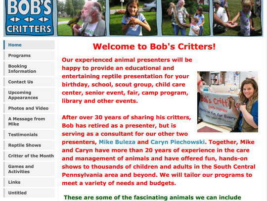A screenshot of the Bob's Critters website (now Mike's