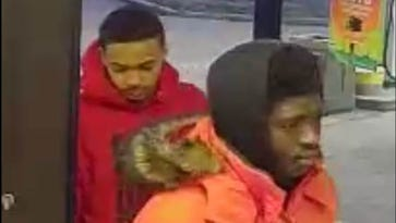 Police released surveillance photos of two men suspected of stealing items from a vehicle last month near New Castle.