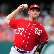 Aug 3, 2014; Washington, DC, USA; Washington Nationals pitcher Stephen Strasburg (37) throws a pitch in the first inning against the Philadelphia Phillies at Nationals Park. Mandatory Credit: Evan Habeeb-USA TODAY Sports