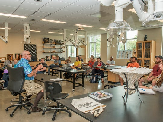 George Benz gives a marine biology lecture on the first day of classes in the new Science Building at MTSU