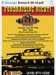 Flyer for Tuesday, June 28 Texas Roadhouse fundraiser