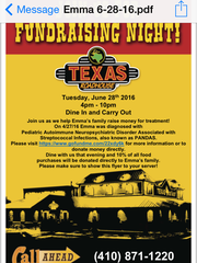 Flyer for Tuesday, June 28 Texas Roadhouse fundraiser for Emma Haines