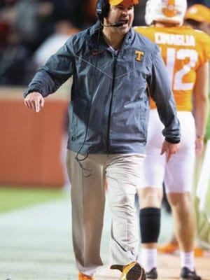 Vols football coach Jeremy Pruitt works the sidelines last season.