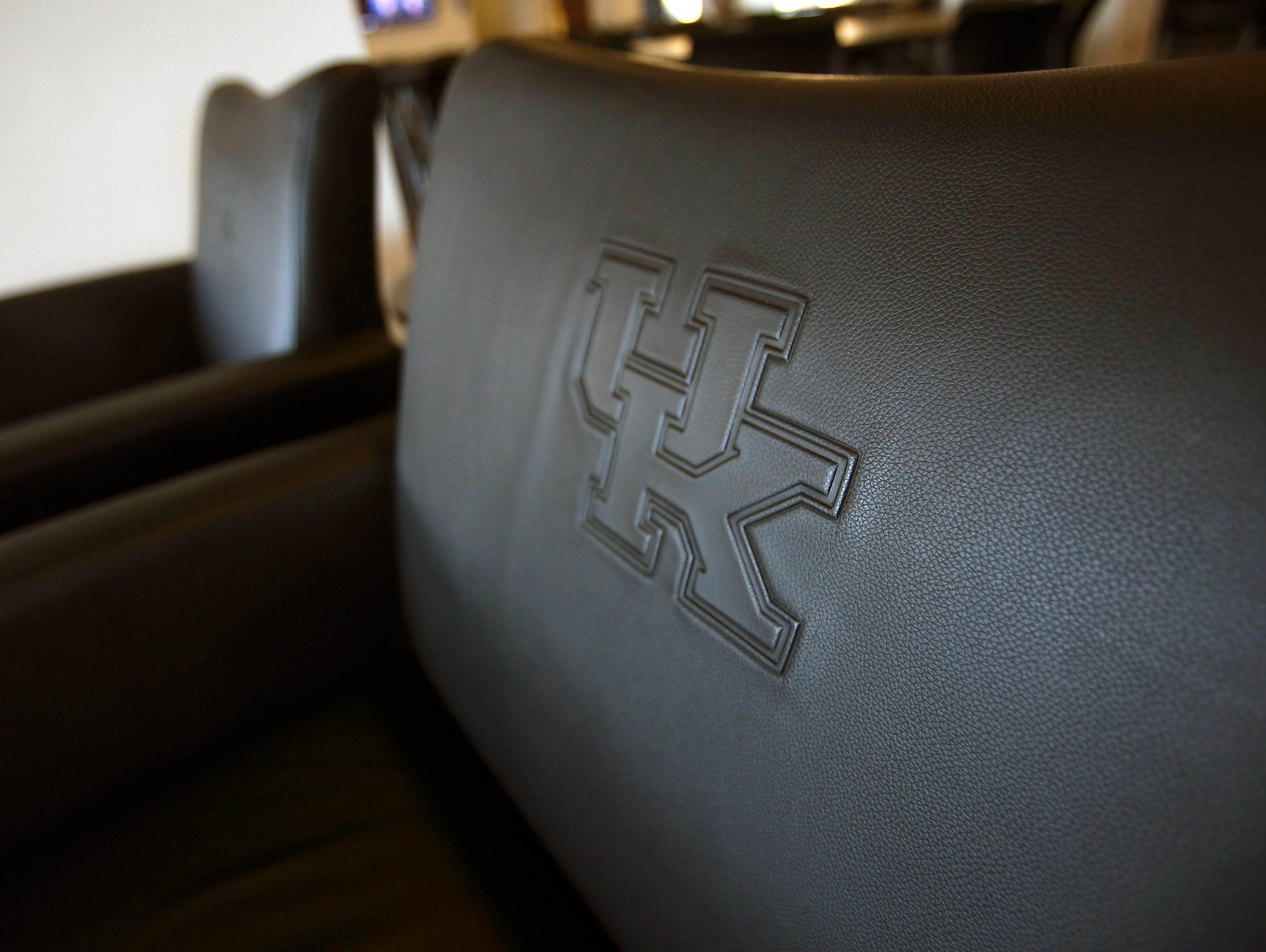 The new UK football recruiting room at Commonwealth Stadium has embroidered chairs. Sept. 24, 2015