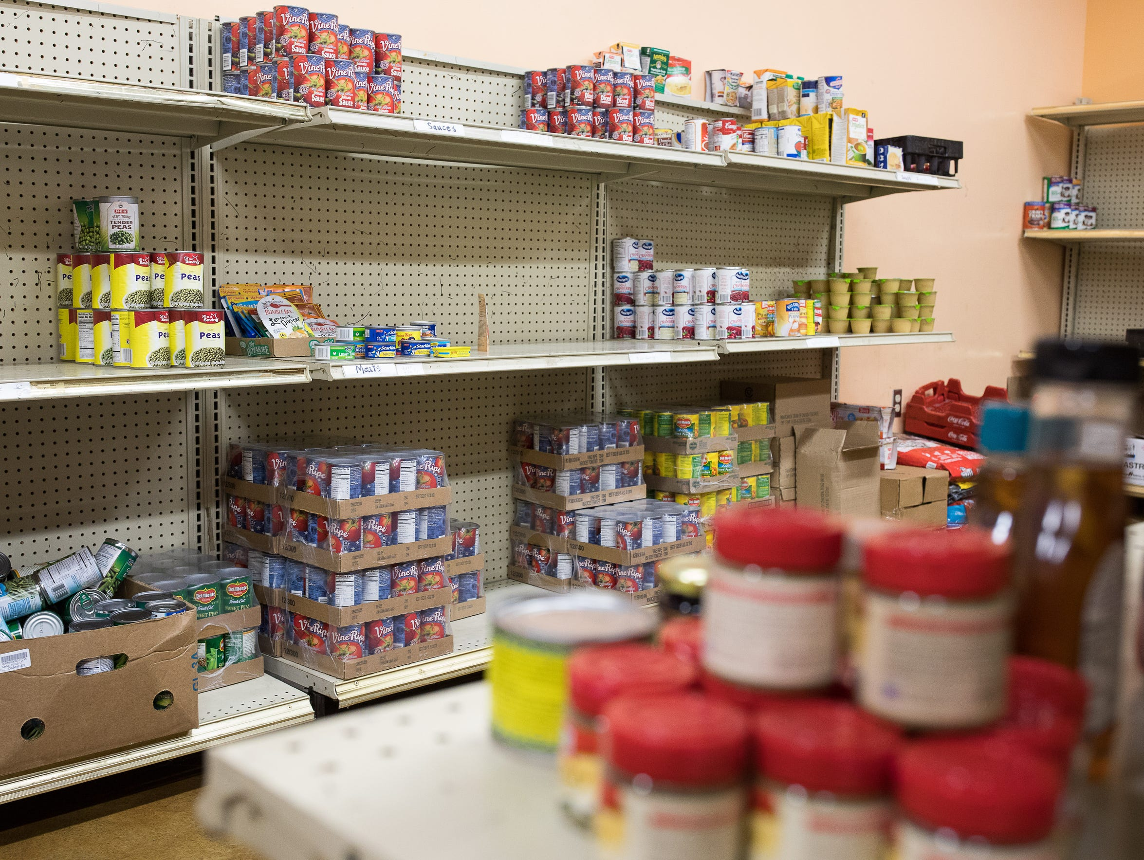 Nonperishable items are stored in the food pantry at