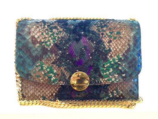 purple, green and gold Python and Sequins bag. One of only 10 made. Available at kiki's.