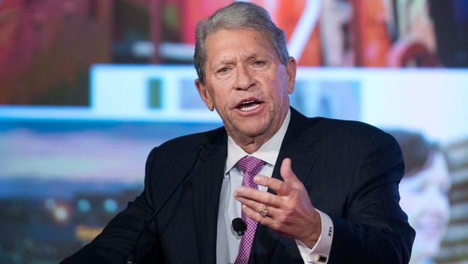 Hunter Harrison, the president and CEO of railroad giant CSX died Saturday, Dec. 16, 2017, at the age of 73, the company says. Harrison is shown here on May 14, 2015, when he was CEO of Canadian Pacific Railway.