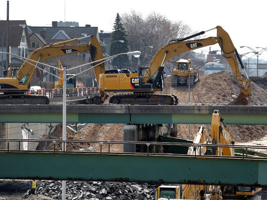 Destruction of the bridge on Broad Street and the filling in of the Inner Loop continues on Monday. This view is from East Avenue looking south.