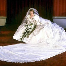 Diana, Princess of Wales, in her wedding dress on July 29, 1981.