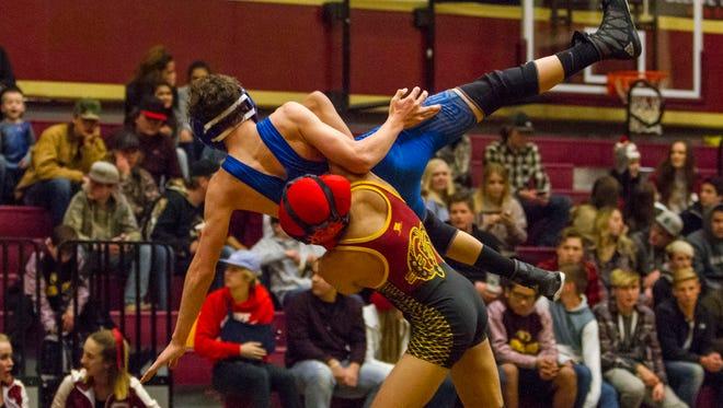 High School Wrestling: Dixie at Cedar (Battle of the Bell), Thursday, Jan. 5, 2017, in Cedar City, Utah. Final Score: CHS 46, DHS 30.