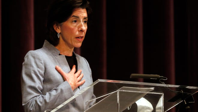 Gov. Gina Raimondo gives the daily coronavirus briefing from the stage in Veterans Memorial Auditorium on June 1. In a new program, Back to Work RI, Raimondo has paired state government with big businesses to provide workers displaced by the pandemic with job training, career counseling and other supports.