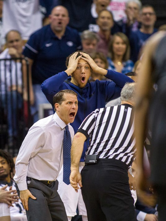 Nevada head coach Eric Musselman is furious by a referee's foul call versus San Diego State during the first period of an NCAA college basketball semifinals game in the Mountain West Conference tournament Friday, March 9, 2018, in Las Vegas. (AP Photo/L.E. Baskow)