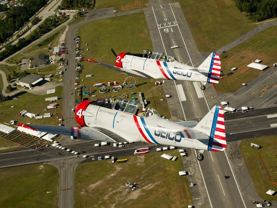 Geico Skytypers Ken Johansen (top) and his father Bill