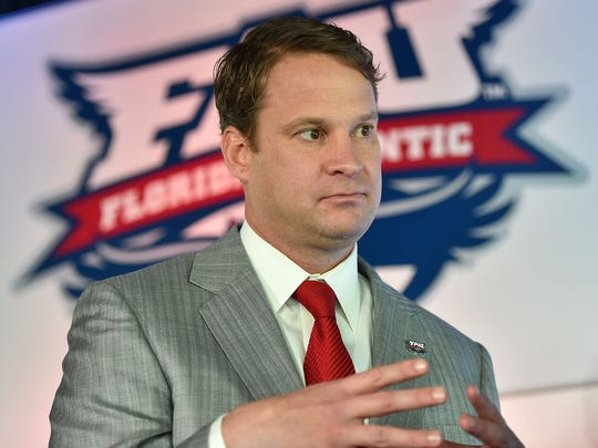 Lane Kiffin speaks to the media   at his introductory press conference at Florida Atlantic.