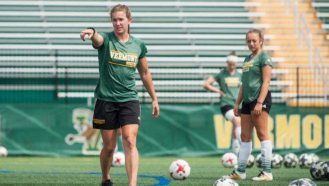 Head coach Kristi Lefebvre gives instructions to the players during the UVM women's soccer team practices at Virtue Field on Thursday afternoon August 17, 2017 in Burlington.