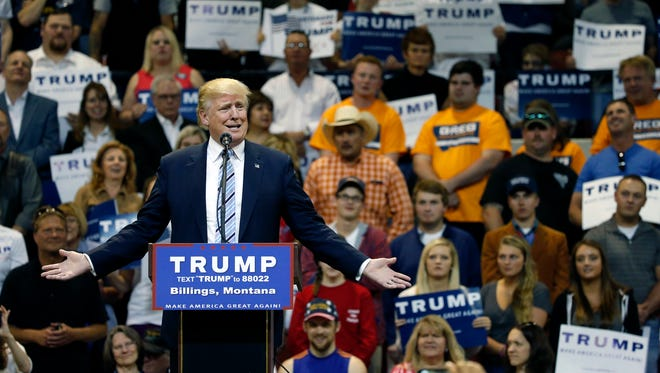 Republican presidential candidate Donald Trump speaks at a campaign rally at the Rimrock Auto Arena, in Billings, Mont., in May. Through the end of July, he raised about $171,000 in Montana compared to $264,000 for Clinton, according to Federal Election Commission filings.