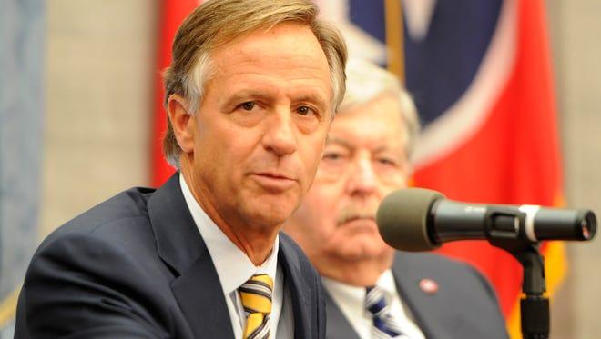 Gov. Bill Haslam addresses the media on Wednesday, May 10, 2017, in Nashville, Tenn.