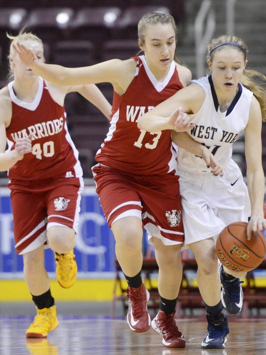 Susquehannock's Jeanette Wilson and West York's Kari Lankford race down the court during the District 3 Class AAA semifinal at the Giant Center in Hershey on Wednesday, Feb. 27, 2013. Susquehannock beat West York, 43-42. (DAILY RECORD/SUNDAY NEWS - KATE PENN   KATE PENN)