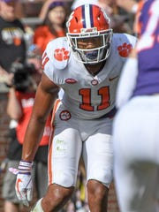 Clemson safety Isaiah Simmons (11) during the the spring game in Memorial Stadium in Clemson on Saturday, April 14, 2018.
