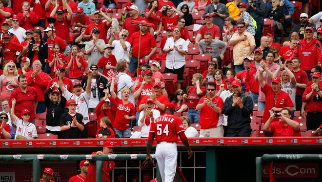 Aroldis Chapman has already made six appearances for the Reds this season.
