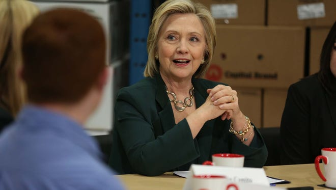 Presidential hopeful Hillary Clinton speaks to a group of central Iowa small business owners on Wednesday, April 15, 2015 at Capital City Fruit Company in Norwalk. This is the second day of Clinton's visit to Iowa.