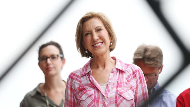 Presidential hopeful, Carly Fiorina gets ready to speak at the Des Moines Register's Political Soapbox on Monday, August 17, 2015 at the Iowa State Fair.