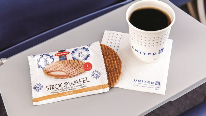 The 'stroopwafel' will be among United's free breakfast snack offerings for economy class passengers.