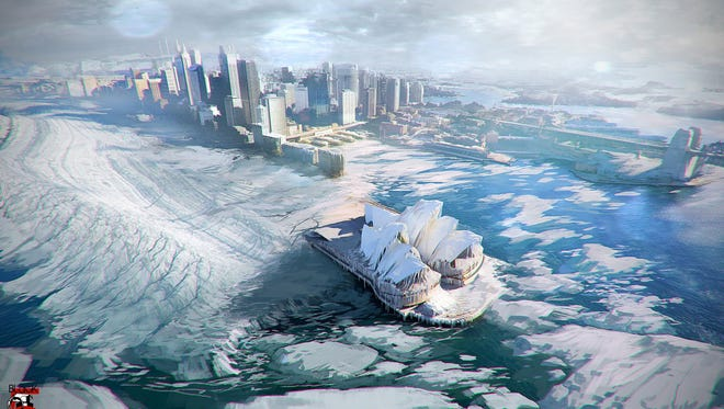 A preview image of coming VR content from The Rogue Initiative shows Sydney Harbor in an ice-age state.