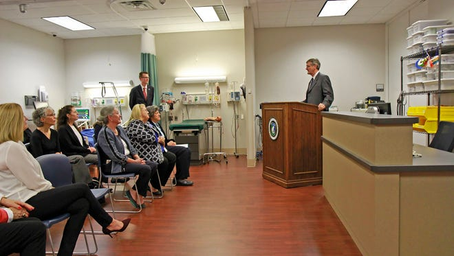 Dr. Dan McMillan speaks Monday at the UWF gift announcement for the BSN Nursing Program.