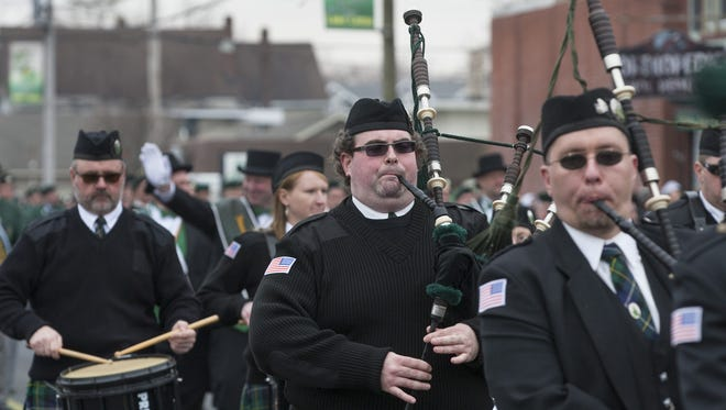 Bagpipers play at Belmar's St Patrick's Day Parade in 2014.