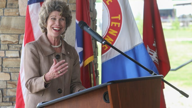 Clarksville Mayor Kim McMillan speaks at the Riverside Drive Stream Bank Stabilization completion ceremony at Freedom Point on Tuesday.