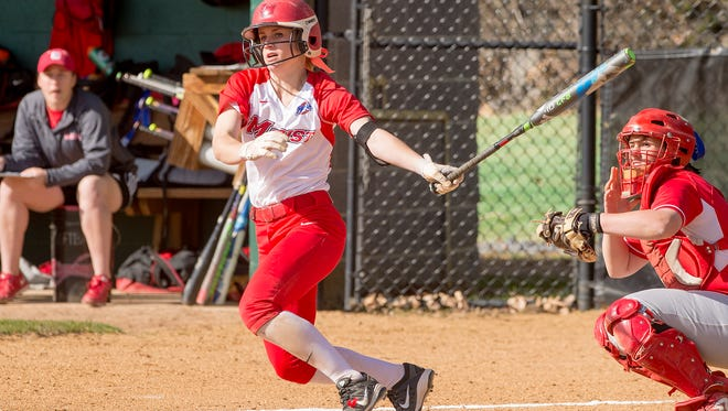 Marist College's Claire Oberdorf follows through on a swing during a game last year.