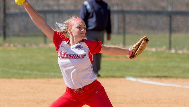 Marist softball's Jayne Oberdorf delivering a pitch.