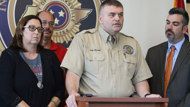 Middle Tennessee Law Enforcement Liasaion Tony Burnett discusses Hands Across Borders, a collaboration between Tennessee and Kentucky law enforcement, during a press conference about the program at the Clarksville Police Department North Precinct on Friday.
