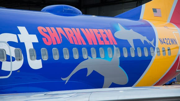Southwest Airlines shows off a special shark-themed