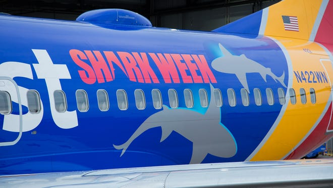 Southwest Airlines shows off a special shark-themed livery as part of a Shark Week partnership with the Discovery Channel.