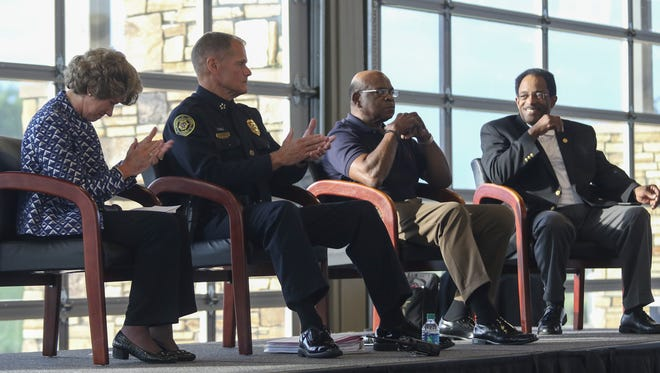 From left, City Mayor Kim McMillan, Clarksville Police Chief Al Ansley, one of the leaders of the Coalition of Concerned Citizens organization, Pastor Willie Freeman and NAACP President Jimmie Garland held a race relations and policing forum at the Wilma Rudolph Event Center on Monday evening.