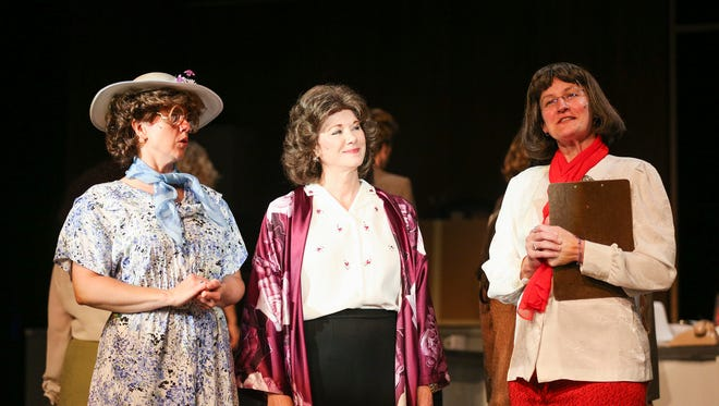 Heather Toller as Judy, left to right, Kelli Jaecks as Violet and Kara Quello as Roz rehearse for '9 to 5' at Pentacle Theatre. The theater added a matinee to the popular show.