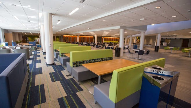 Food court and study area - Des Moines Area Community College student center tour Thursday Sept. 1, 2016, In Ankeny.