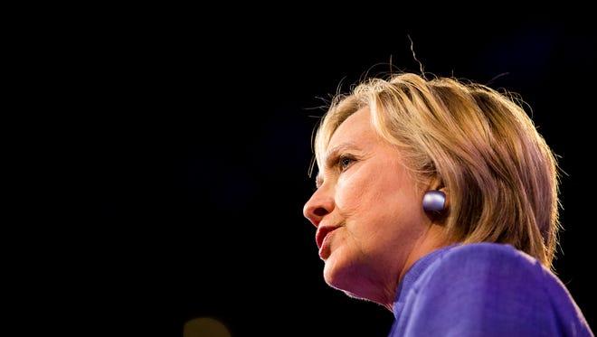 Hillary Clinton addresses the American Legion convention in Cincinnati.