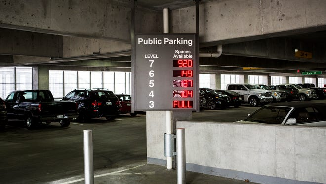 October 4, 2016 - A electronic board lists off the available parking spaces within Memphis International Airport's economy parking garage at the entrance of the garage. Labor Day weekend travelers nearly filled Memphis International Airport's 4,500-space economy parking garage, leaving only 207 spaces free on the top floor.
