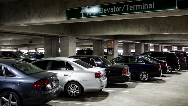 October 4, 2016 - Cars fill spaces on the fifth level of Memphis International Airport's economy parking garage. Labor Day weekend travelers nearly filled Memphis International Airport's 4,500-space economy parking garage, leaving only 207 spaces free on the top floor.