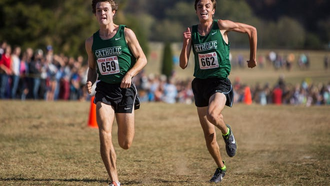 1st place Class A/AA boys Georde Goodwin, left, and 2nd place Class A/AA boys Jake Renfree of Knoxville Catholic at the 2016 state cross country championship at Percy Warner Park.