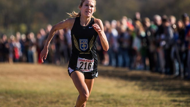1st place Class A/AA girls Rebecca Story of CAK at the 2016 TSSAA State Cross Country Championship at Percy Warner Park.
