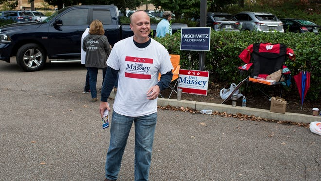 November 8, 2016 - Dean Massey, a challenger running for Germantown Alderman position 3, smiles and thanks voters outside of a voting location at Riveroaks Reformed Presbyterian Church.