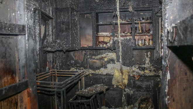 A fire started in the kitchen, pictured, of a home on Riverview Drive on Wednesday evening. Tamekia Spade escaped without injury.