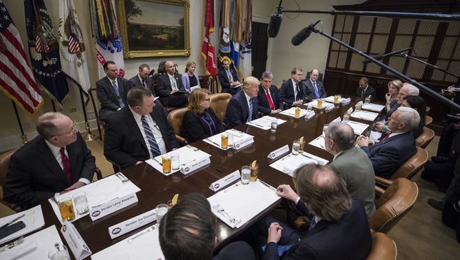 President Donald J. Trump speaks to Democratic and Republican Senators about his Supreme Court nominee Neil Gorsuch in the Roosevelt Room of the White House February 9, 2017 in Washington, D.C.