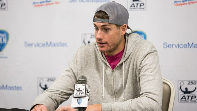 February 13, 2017 - John Isner answers questions during a news conference Monday at the Memphis Open. Isner, 31,  finished 2016 as the top-ranked American in men's tennis for a fifth consecutive year, ranked No. 19 in the ATP rankings.