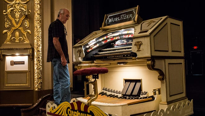 June 5, 2017 - Richard Reinach, building manager at the Orpheum Theatre, raises the Wurlitzer Organ while showing off the 90-year-old instrument. The Orpheum is trying to raise $500,000 to restore the organ.